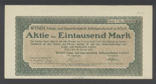 Germany 1923 Bond - Wynen Tabak Und Zigarettenfabrik Koln. . .  A1512 photo