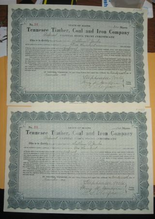 2 Stocks Tennesee Timber,  Coal And Iron Co 1912 100 Shares Not Us Steel Maine photo