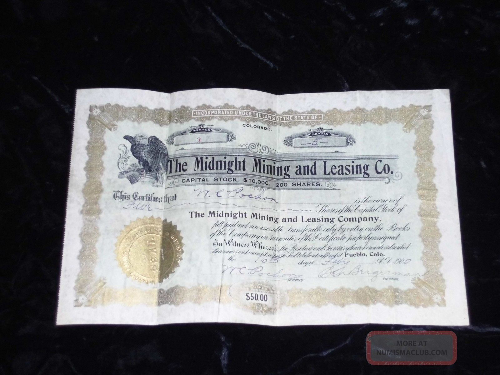 Vintage Stock Certificate (mining Co. ) Dated May 16th,  1902 Stocks & Bonds, Scripophily photo