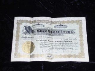 Vintage Stock Certificate (mining Co. ) Dated May 16th,  1902 photo
