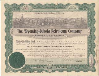 1919 Wyoming - Dakota Petroleum Co.  Stock Certificate photo
