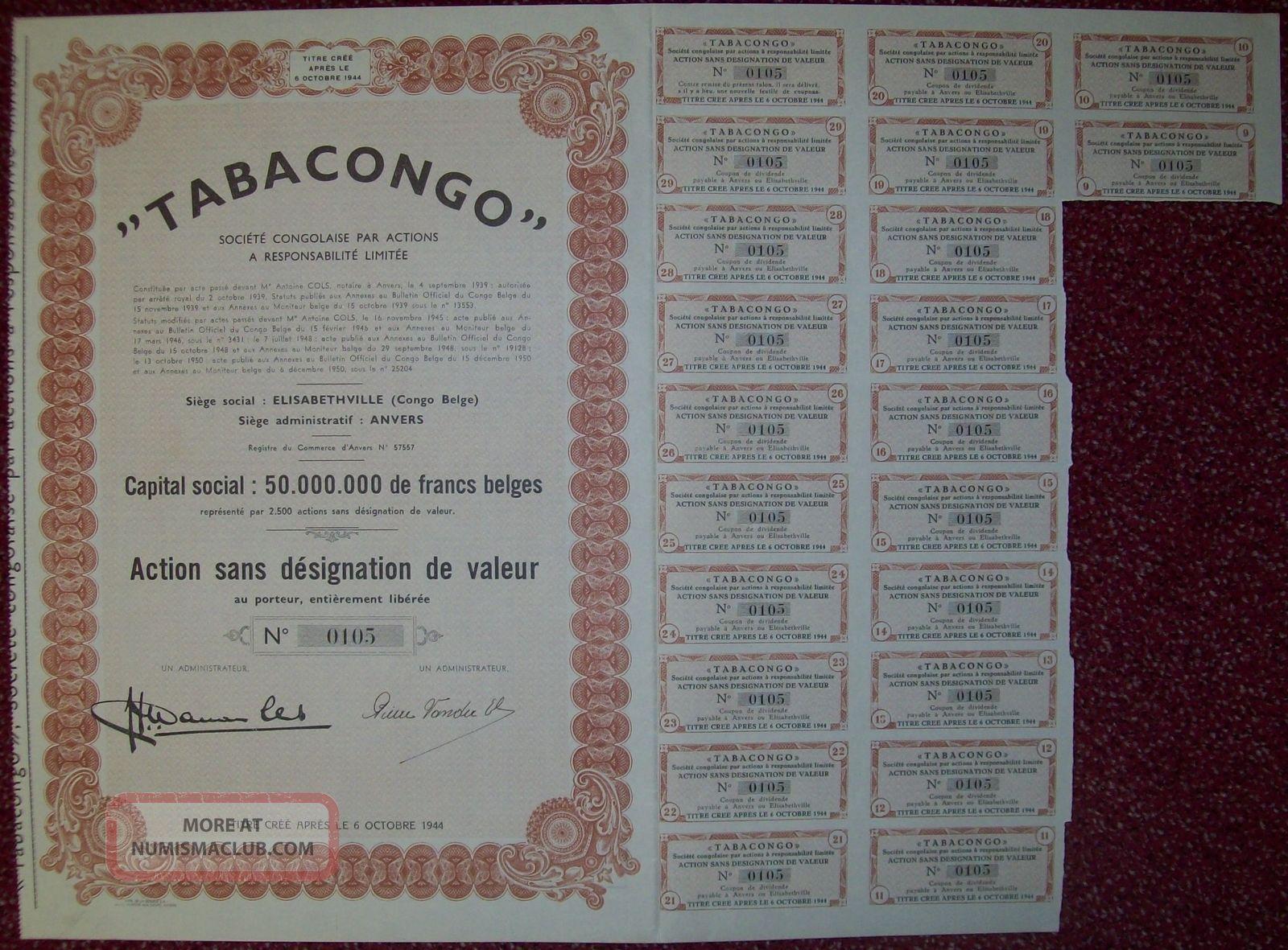 Belgium 1950 Bond - Tabacongo Elisabethville (congo) - Tabac Tobacco.  R3397 World photo