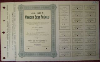 Belgium 1922 Bond Specimen - Usines Van Der Elst Anvers - Tabac Tobacco.  R3395 photo
