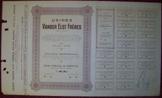 Belgium 1924 Bond Specimen - Usines Van Der Elst Anvers - Tabac Tobacco.  R3394 photo