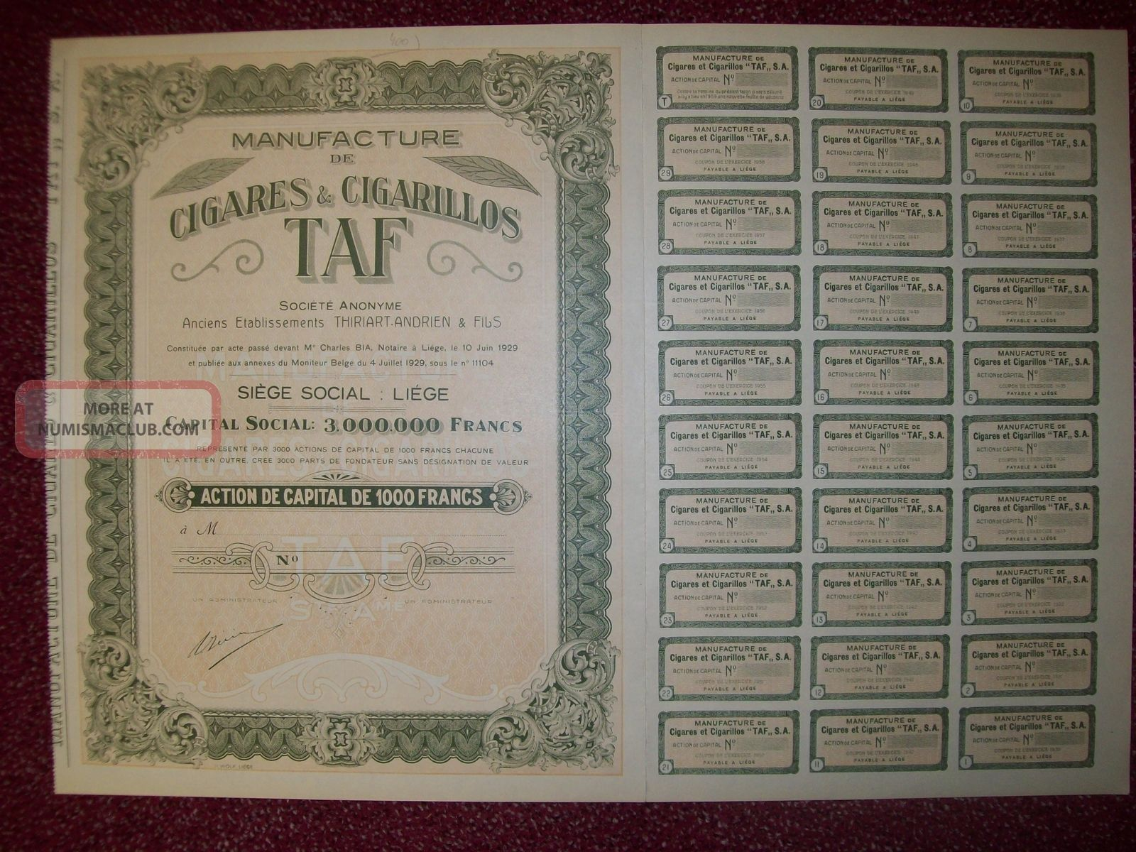 Belgium 1929 Bond - Cigares Cigarillos Taf Manufacture - Tabac Tobacco.  R3386 World photo