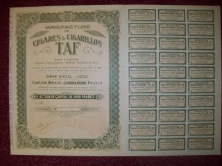 Belgium 1929 Bond - Cigares Cigarillos Taf Manufacture - Tabac Tobacco.  R3386 photo