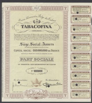 Belgium 1944 Bond - Tabacofina Union Financière Belge - Tabac Tobacco.  R3382 photo