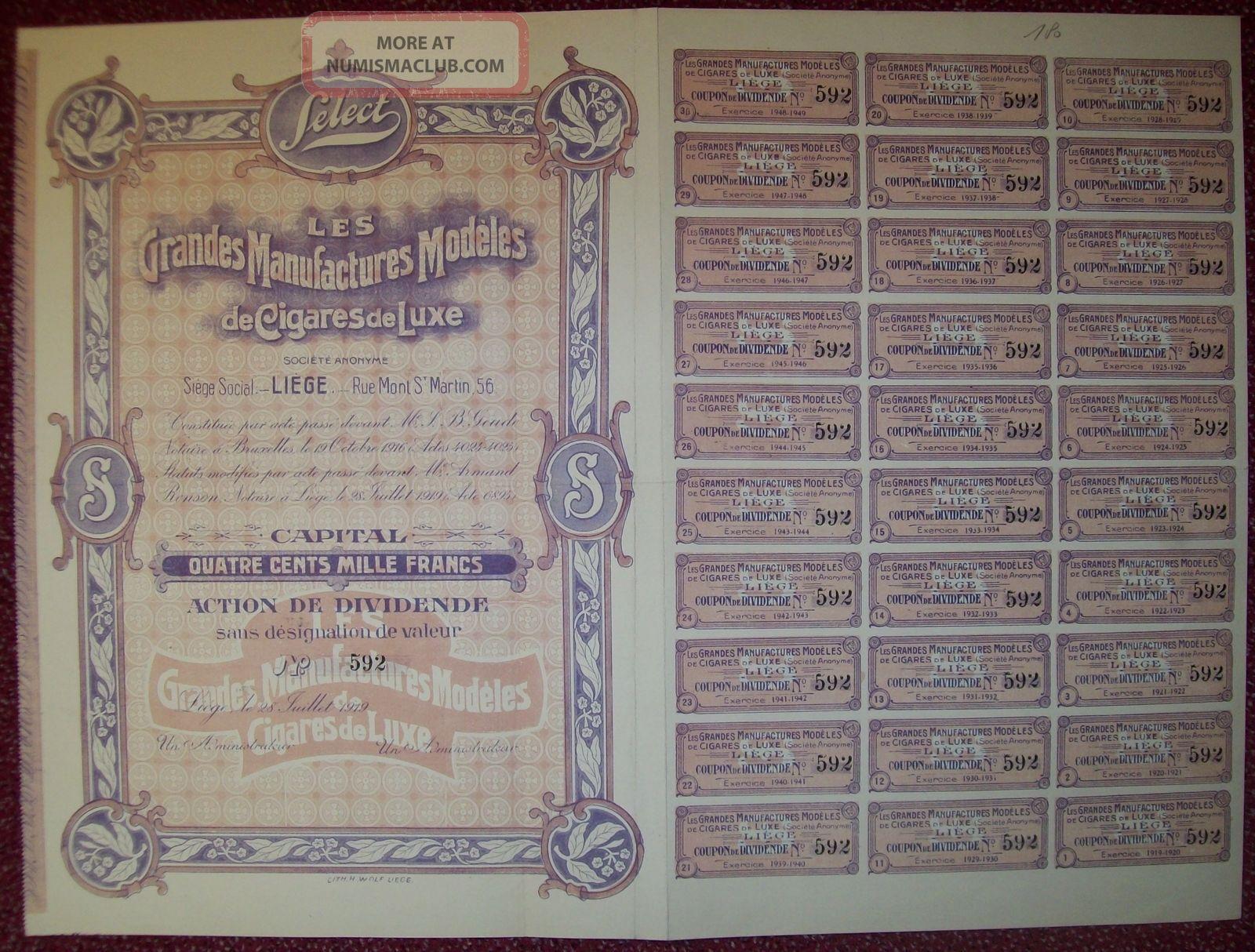 Belgium 1919 Bond - Select Manufacture De Cigares Liege - Tabac Tobacco.  R3380 World photo