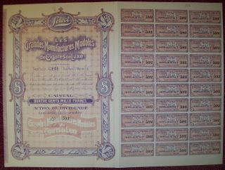 Belgium 1919 Bond - Select Manufacture De Cigares Liege - Tabac Tobacco.  R3380 photo