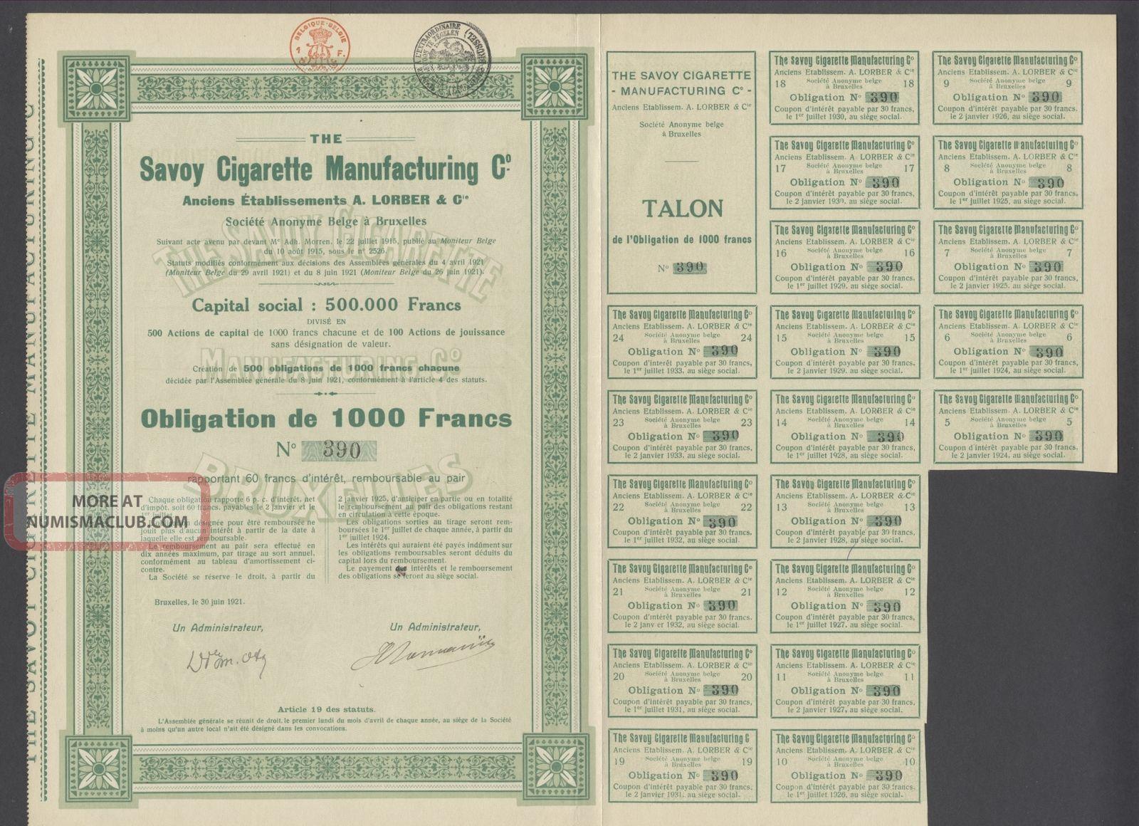 Belgium 1921 Bond - Savoy Cigarette Manufacturing - Tabac Tobacco. .  R3379 World photo