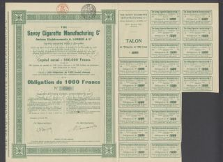 Belgium 1921 Bond - Savoy Cigarette Manufacturing - Tabac Tobacco. .  R3379 photo