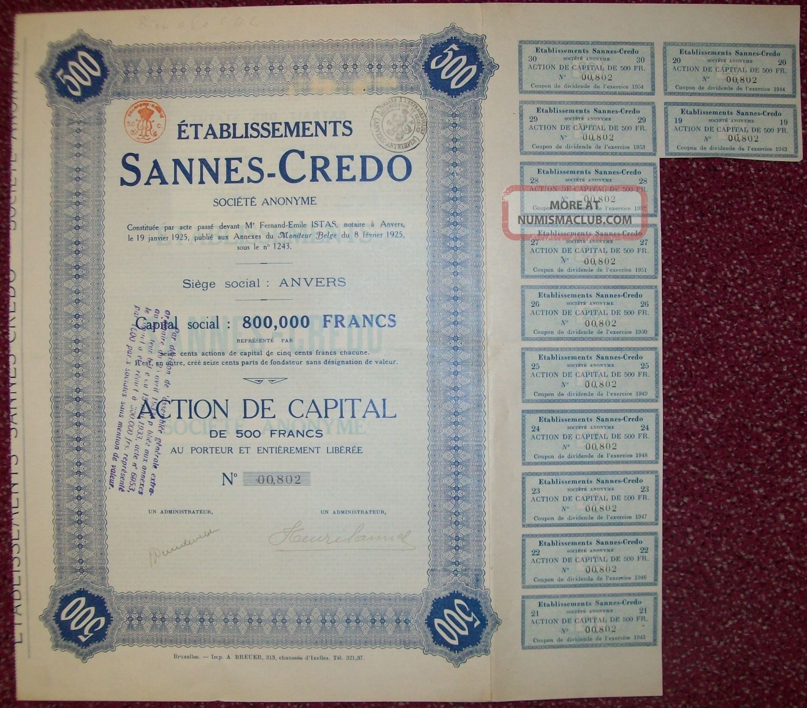 Belgium 1925 Bond - Sannes Credo Anvers - Tabac Tobacco. . .  R3378 World photo