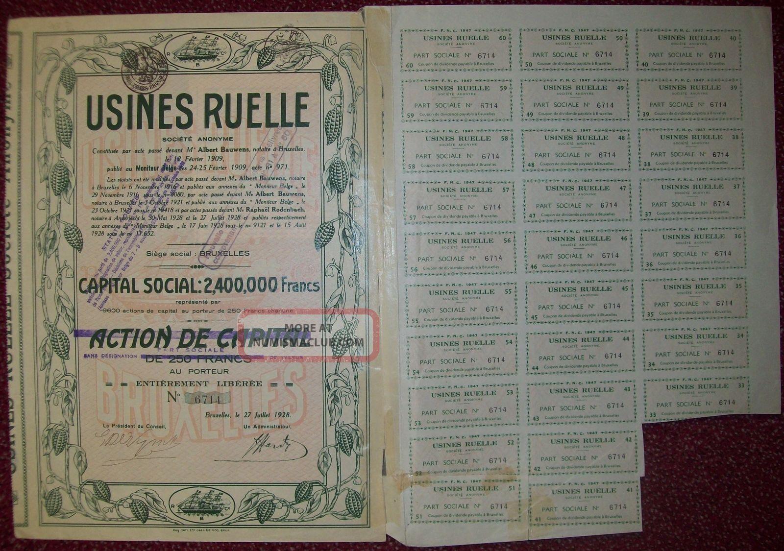 Belgium 1928 Bond - Usines Ruelle Chocolat - With Coupons. . .  R3375 World photo