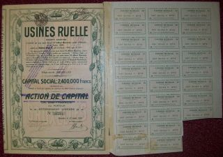 Belgium 1928 Bond - Usines Ruelle Chocolat - With Coupons. . .  R3375 photo