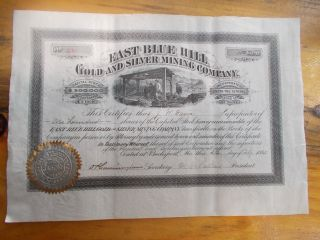 East Blue Hill Gold And Silver Mining Company Issued 1880 Maine Mining Stock photo