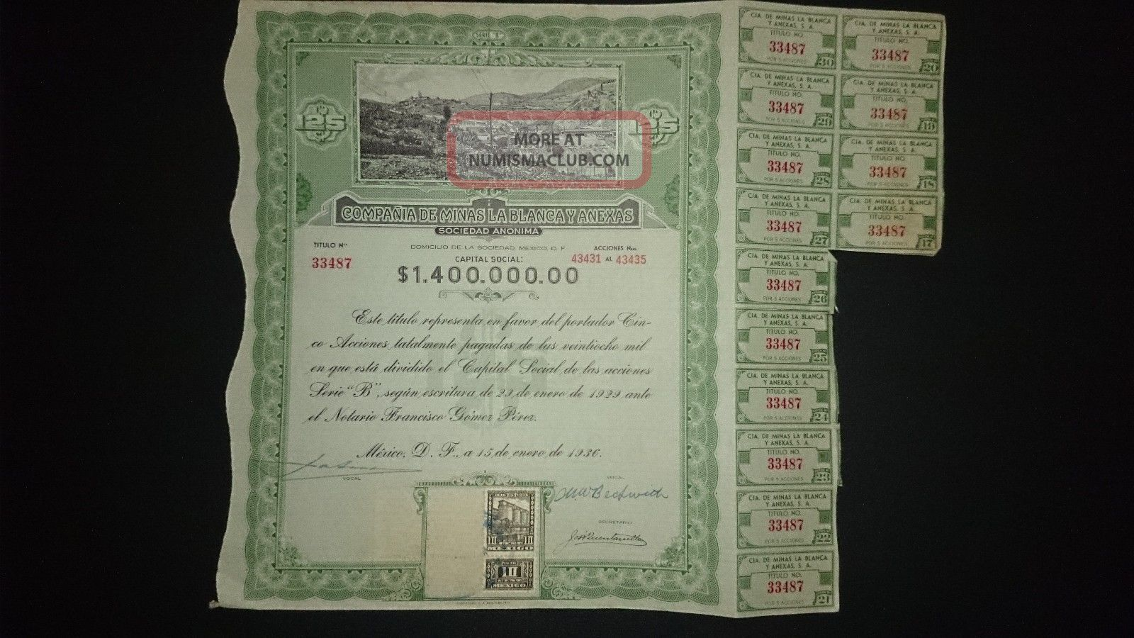CompaÑia De Minas La Blanca Y Anexas.  Title Of 5 Shares.  Mexico 1936 Stocks & Bonds, Scripophily photo