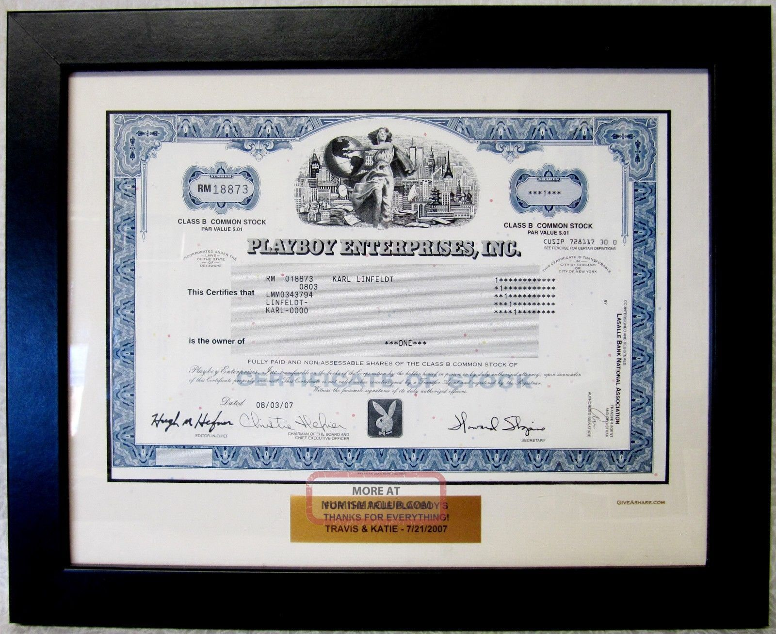 Framed & Dedicated Playboy Enterprises Inc Common Stock Certificate 2007 Stocks & Bonds, Scripophily photo