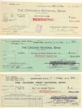 1924 & 1938 Sierra Railway Company Of California,  Jamestown - Check Vouchers photo