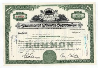 Paramount Pictures Corporation Stock Certificate photo