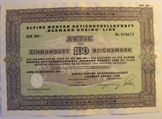 1939 Germany Mining Stock Hermann Goring Nazi Holocaust Ss War Criminal photo