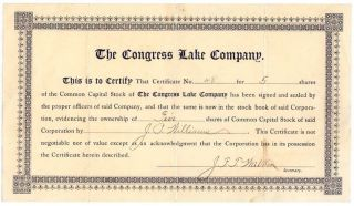 5 Shares Common Capital Stock,  The Congress Lake Company (hartville,  Ohio) photo