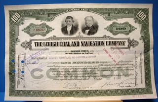 Lehigh Coal And Navigation Co Stock Certificate 1940s 100 Shares photo