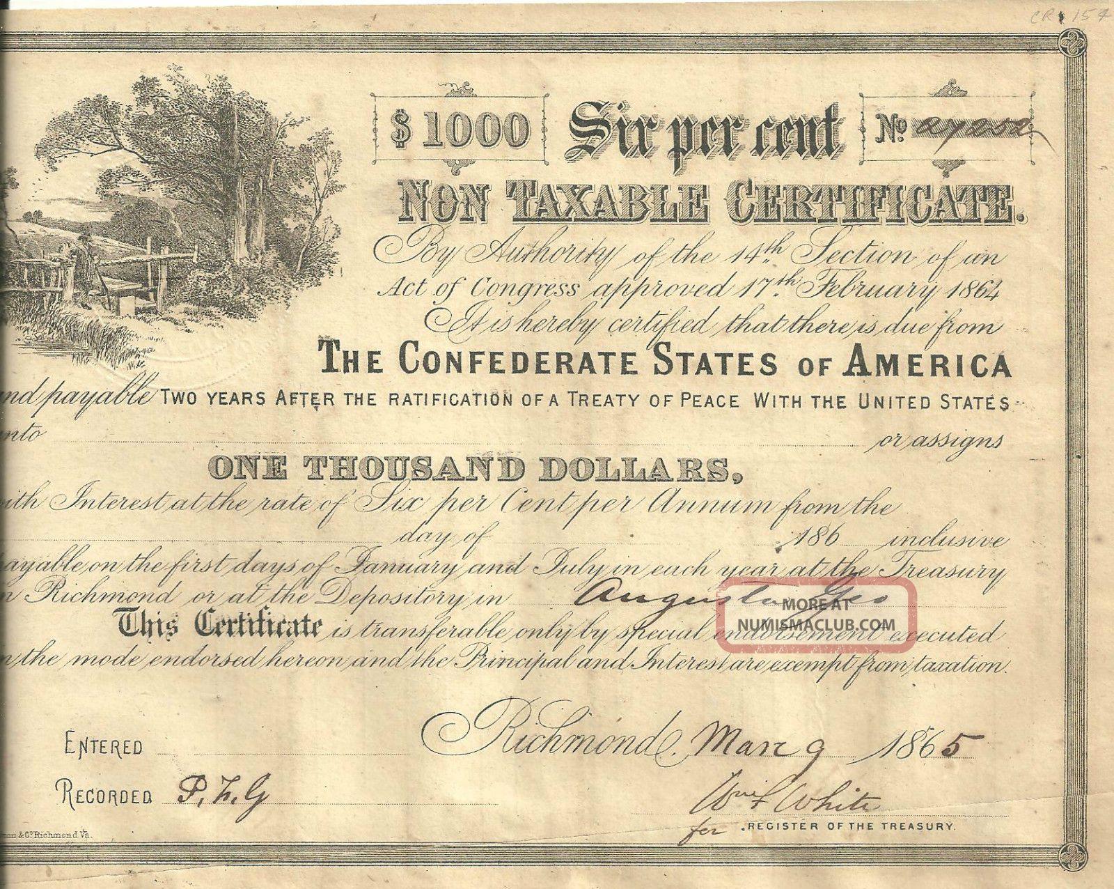 United States$1000 Confederate States Of America 6 Non Taxable Cert 3 - 9 - 1865. World photo