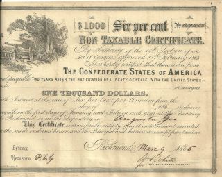 United States$1000 Confederate States Of America 6 Non Taxable Cert 3 - 9 - 1865. photo