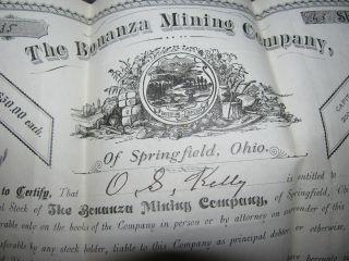 1884 Stock Certificate Bonanza Mining Company Springfield Ohio O.  S.  Kelly photo