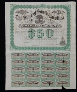 1878 South Carolina Deficiency Bond,  $50,  With 20 Coupons photo