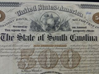 1874 South Carolina Consolidation Bond,  $500,  With 30 Coupons photo