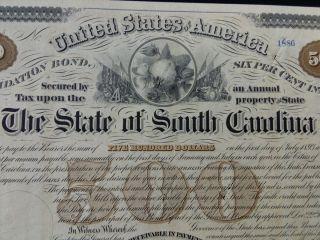 1874 South Carolina Consolidation Bond,  $500,  With 30 Coupons photo