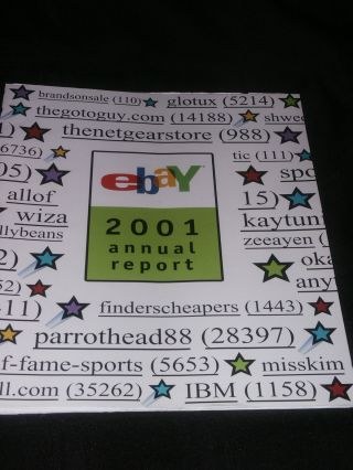 2001 Ebay.  Com Common Stock Annual Report 6th Year Meg Whitman Full Of Info. photo