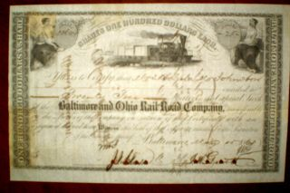The Baltimore Ohio Railroad Company,  Share Certificate 1868 photo