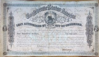 Confederate States Of America $100 Bond 1864 First Series. photo