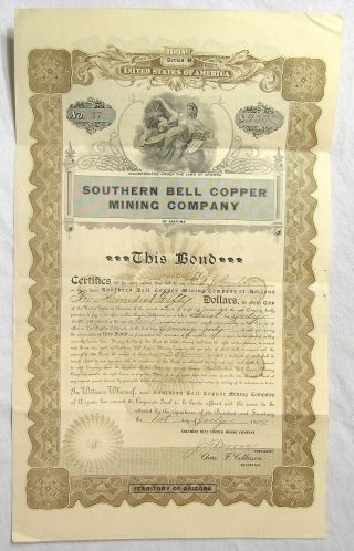 1909 Bond Certificate For The Southern Bell Copper Mining Company Of Arizona photo