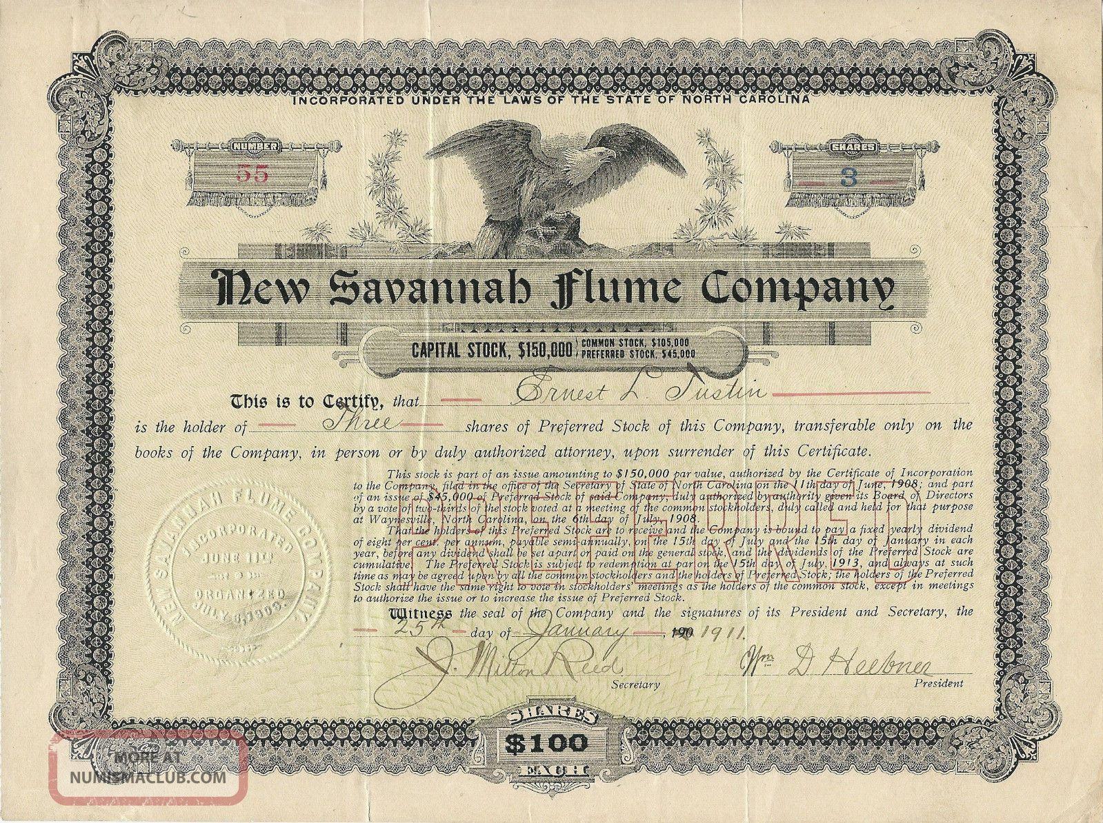 North Carolina,  Savannah Flume Company Stock Certificate 1911 Stocks & Bonds, Scripophily photo