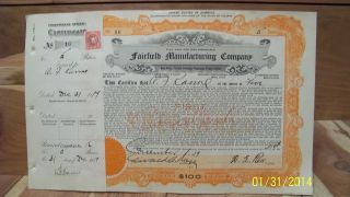 Fairfield Manufacturing Company Stock Certificate No.  16 Dec.  31,  1919 photo