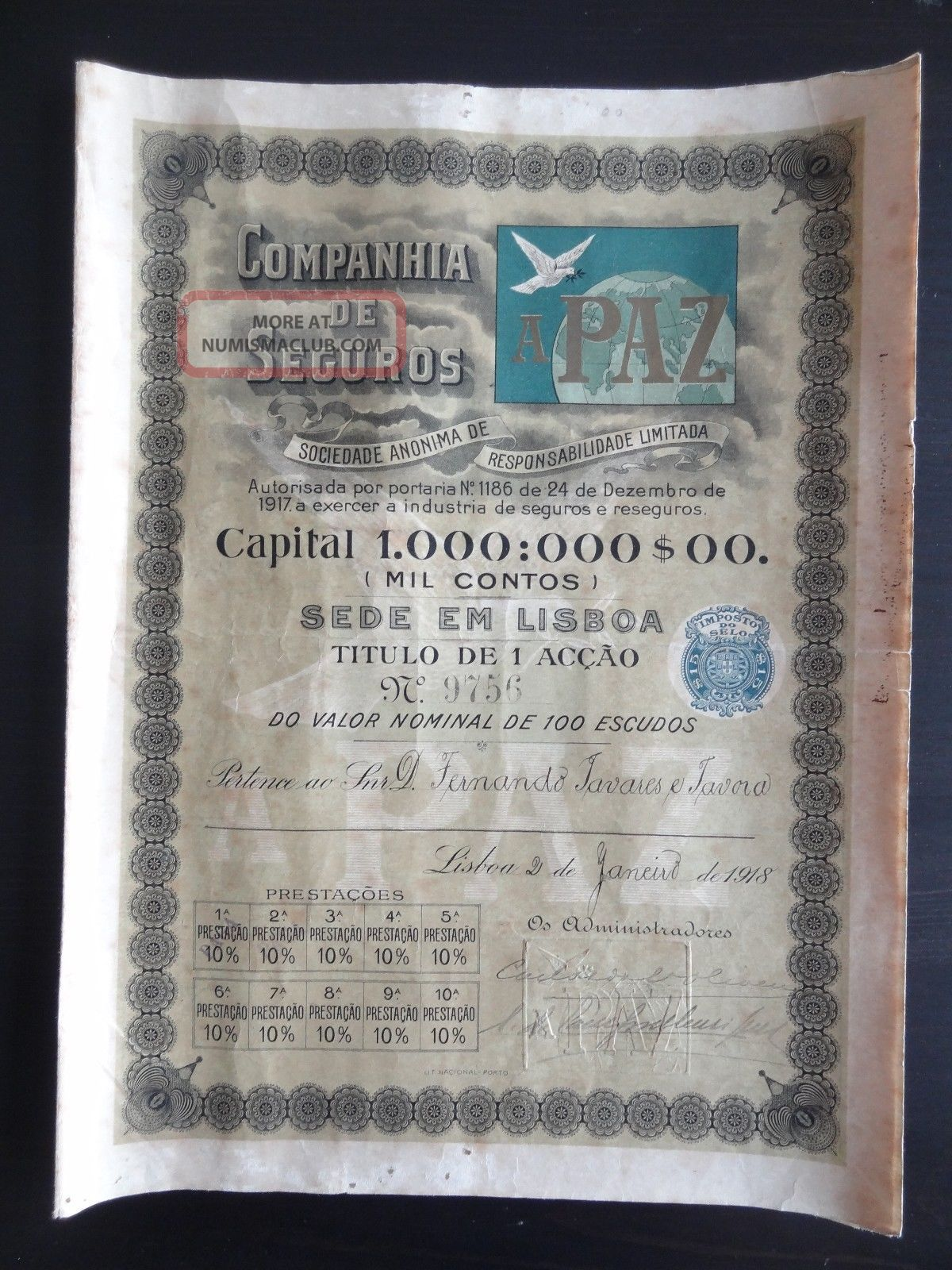 Portugal Rare Companhia De Seguros A Paz 1918 Share 100 Escudos (stock - Bond) World photo