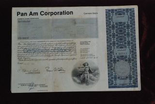 Pan Am Corporation Common Share Stock Certificate 1987. photo