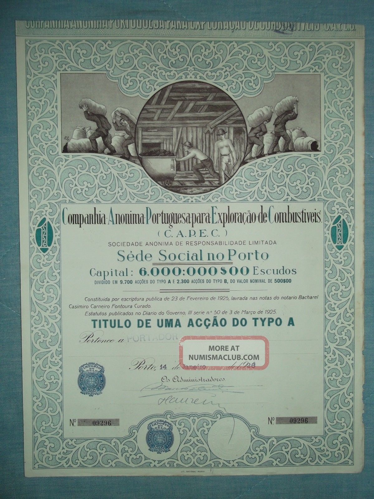 Portugal Title Of Shares Of The Company Exploration To Fuel,  14 January 1926 World photo