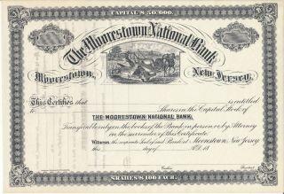 Moorestown Jersey National Bank 1870 ' S ? Stock Certificate photo