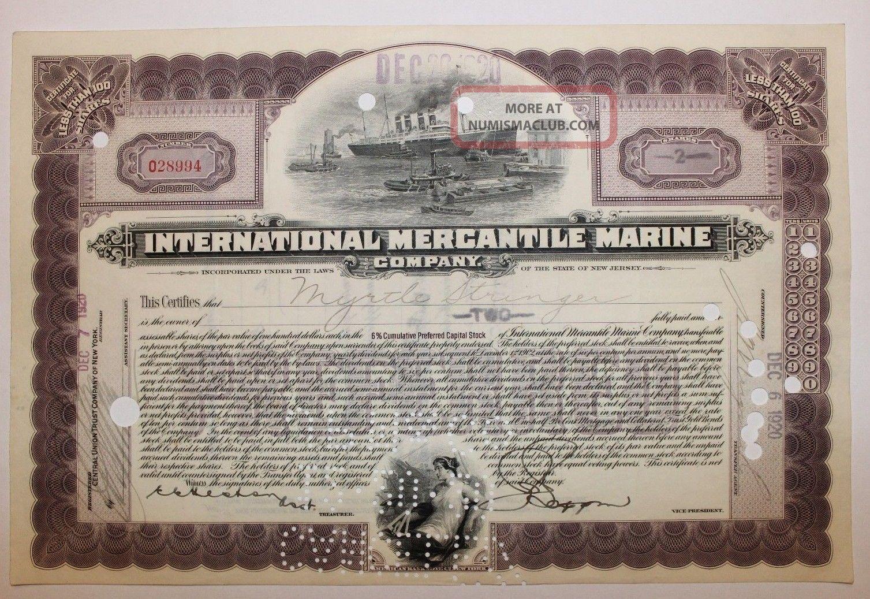 1920 International Mercantile Marine Co.  Stock Certificate Titanic Type 7 Purple Transportation photo