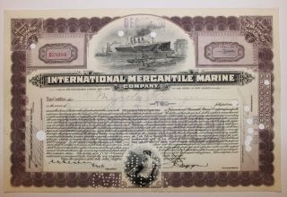 1920 International Mercantile Marine Co.  Stock Certificate Titanic Type 7 Purple photo