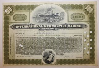 1928 International Mercantile Marine Co.  Stock Certificate Titanic Type 6 Olive photo