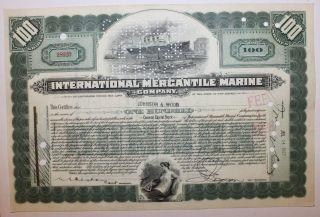 1927 International Mercantile Marine Co.  Stock Certificate Titanic Type 5 Green photo