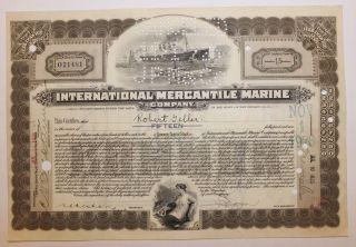 1925 International Mercantile Marine Stock Certificate Titanic Type 3 Dark Olive photo