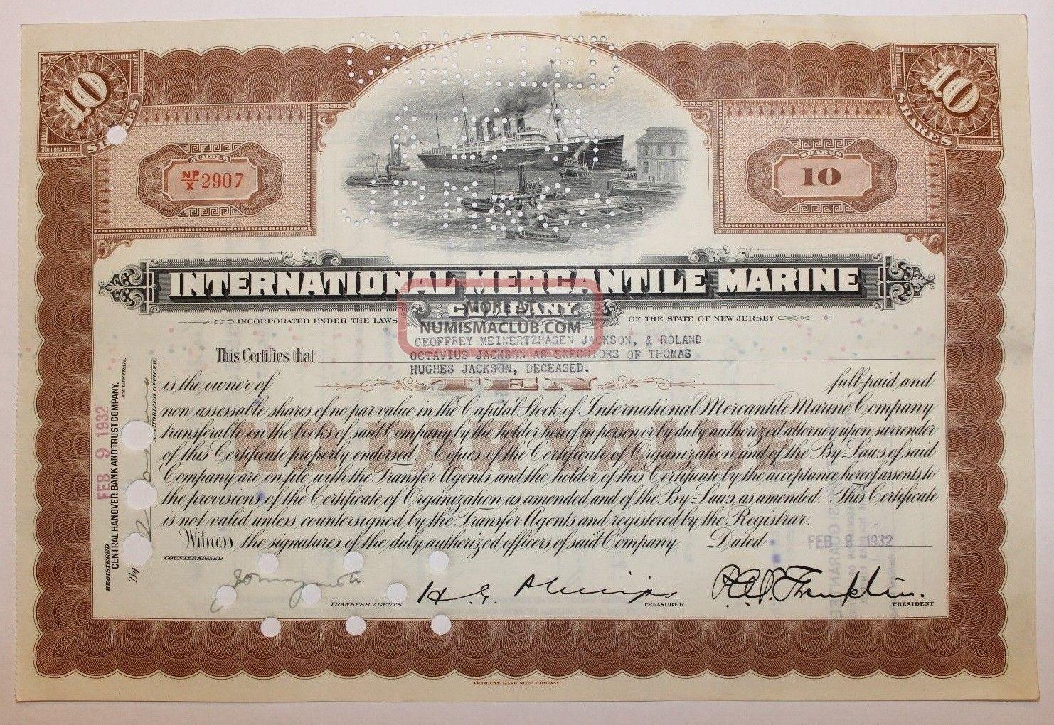 1932 International Mercantile Marine Co.  Stock Certificate Titanic Type 2 Brown Transportation photo
