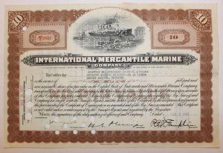 1932 International Mercantile Marine Co.  Stock Certificate Titanic Type 2 Brown photo