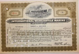 1930 International Mercantile Marine Co.  Stock Certificate Titanic Type 1 Olive photo